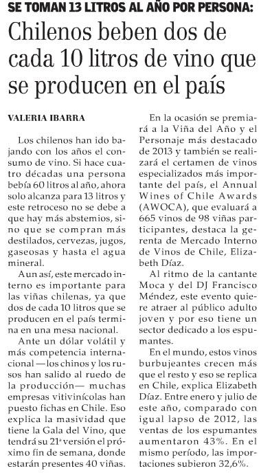 chilenos beben dos de cada 10 litros de vino que se producen en el pais